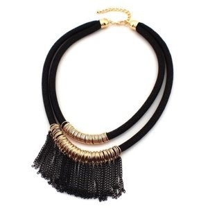 Necklace black and gold tone - New